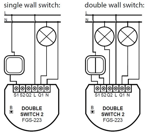 Fibaro Z-Wave Plus Double Switch 2 FGS-223 ZW5 US Wiring Diagram
