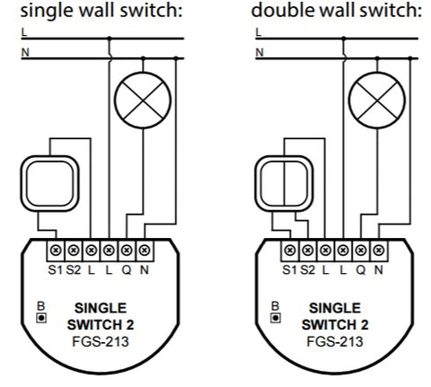 Fibaro Z-Wave Plus Single Switch FGS-213 ZW5 US wiring diagram