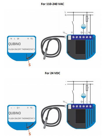 Wiring diagram for Qubino On Off Thermostat 2 ZMNHKID3