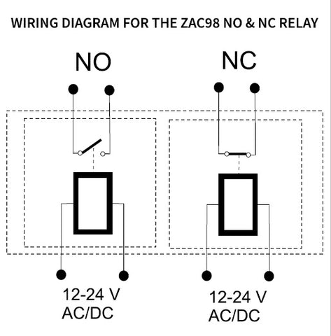 Zooz 2 Channel NO & NC Accessory Relay ZAC98 Wiring Diagram