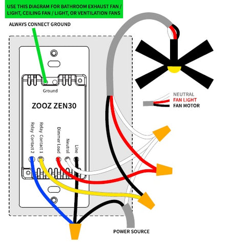 Zooz Z-Wave Plus S2 Double Switch ZEN30 Wiring Diagram