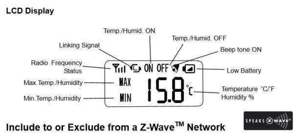 Everspring ST814 - 2  Z-Wave Wireless Temperature and Humidity Detector display