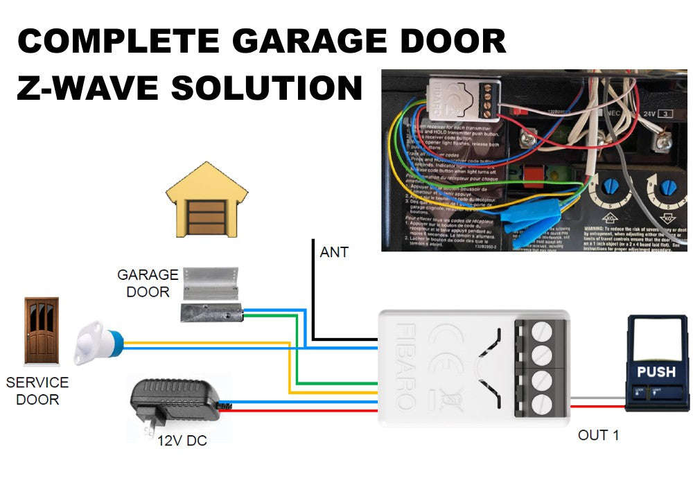 FIBARO Z-Wave Plus Smart Implant FGBS-222 Garage Door Opener Solution