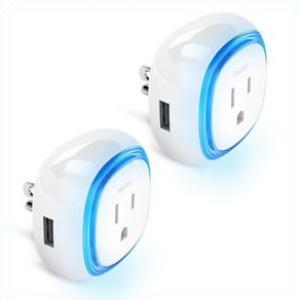 Fibaro Z-Wave Plus Wall Plug with USB Charging Port FGWPB-121 2 Pack Deal