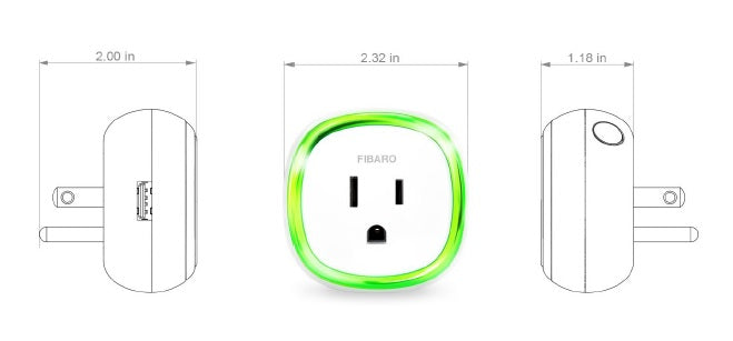 Fibaro Z-Wave Plus Wall Plug with USB Charging Port FGWPB-121 Dimensions