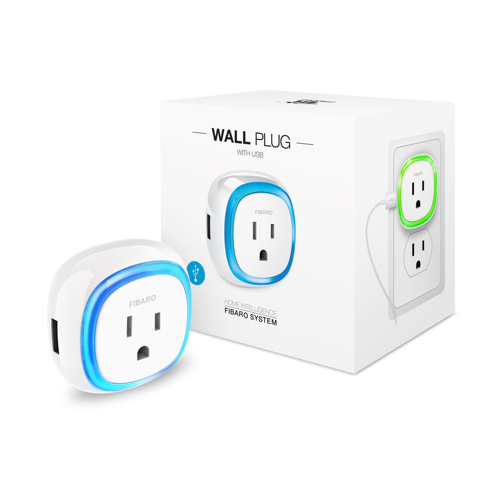 Fibaro Z-Wave Plus Wall Plug with USB Charging Port FGWPB-121 Packaging View