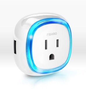 Fibaro Z-Wave Plus Wall Plug with USB Charging Port FGWPB-121 Semi Profile View
