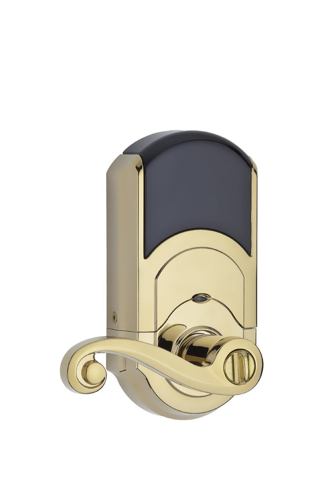 Kwikset 912 Electronic Lock with tustin lever featuring Smartkey and Z-Wave Polished Brass Closed