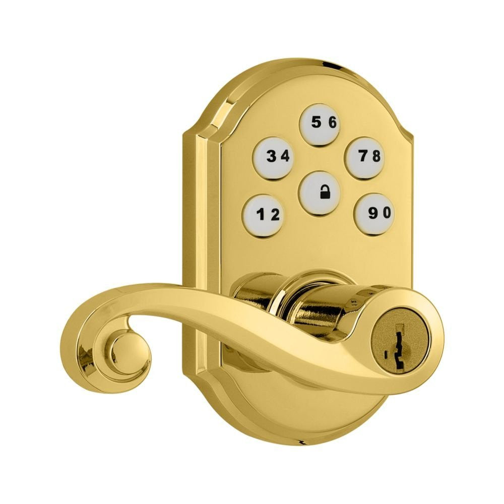Kwikset 912 Electronic Lock with tustin lever featuring Smartkey and Z-Wave Polished Brass Front