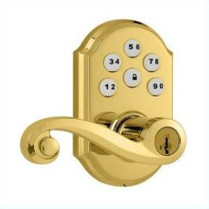 Kwikset 912 Electronic Lock with tustin lever featuring Smartkey and Z-Wave Polished Brass Thumbnail