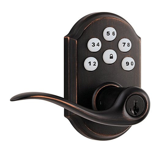 Kwikset 912 Electronic Lock with tustin lever featuring Smartkey and Z-Wave Venetian-Bronze Front