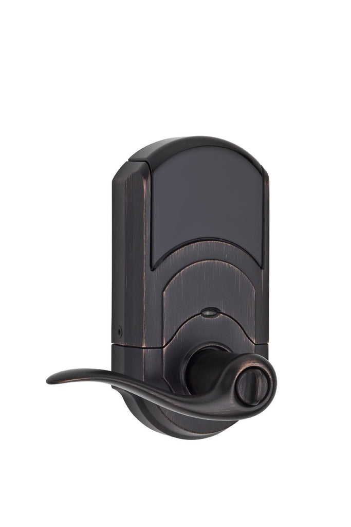 Kwikset 912 Electronic Lock with tustin lever featuring Smartkey and Z-Wave Venetian-Bronze Closed Cover