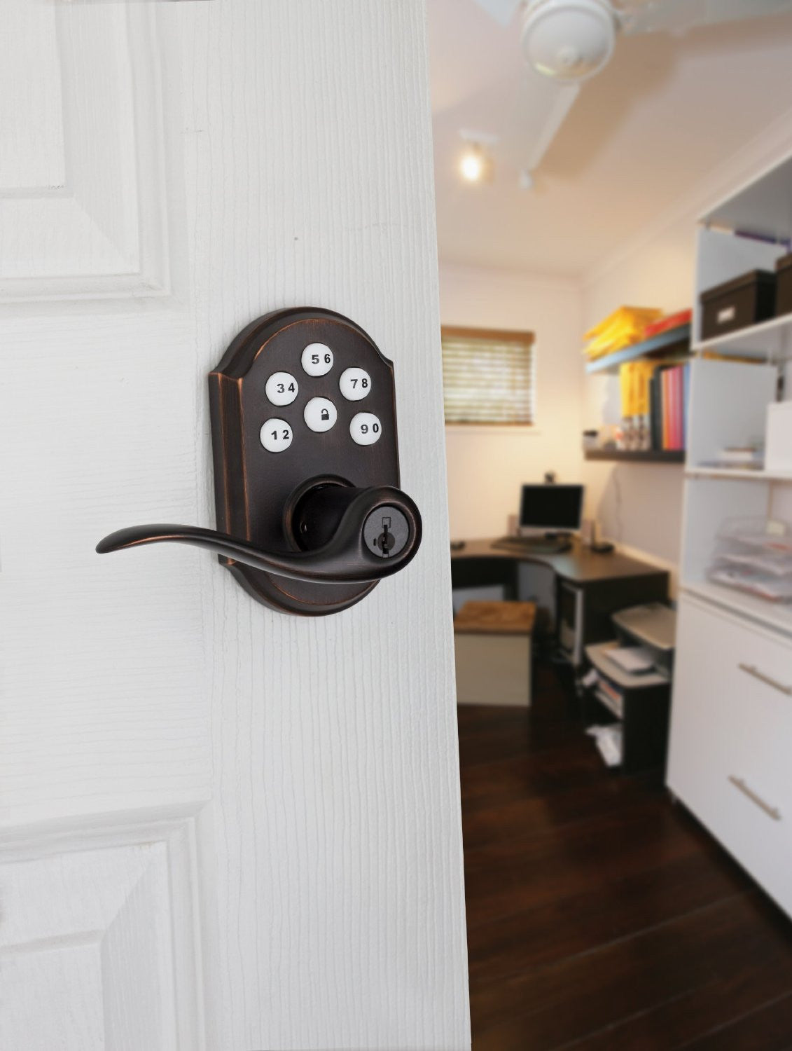 Kwikset 912 Electronic Lock with tustin lever featuring Smartkey and Z-Wave Venetian-Bronze Installed
