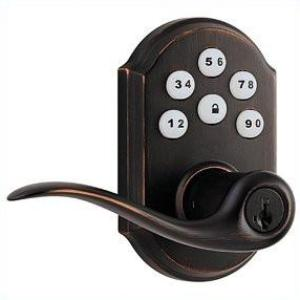 Kwikset 912 Electronic Lock with tustin lever featuring Smartkey and Z-Wave Venetian-Bronze Thumbnail