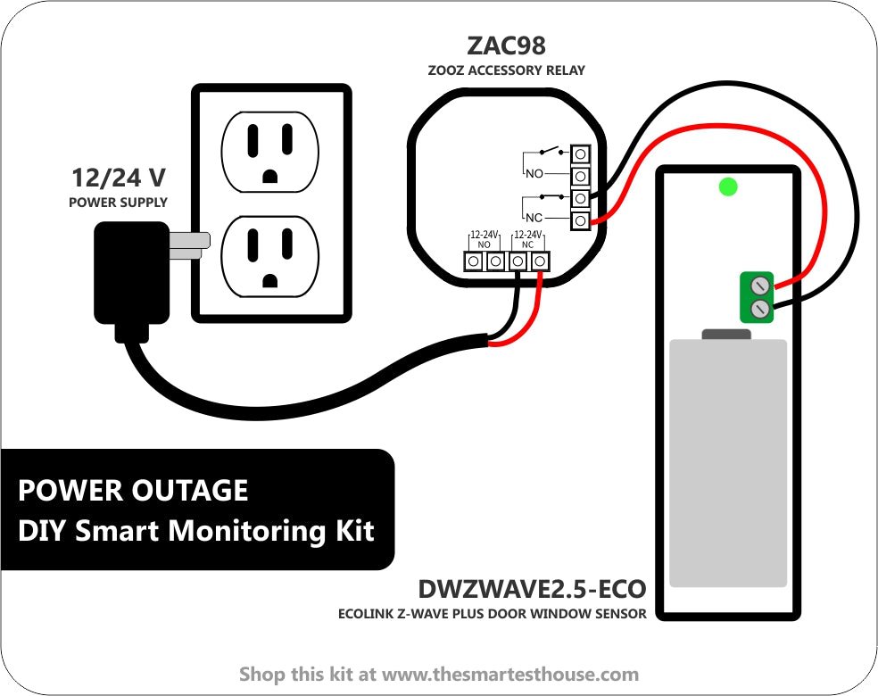DIY Smart Power Outage Monitoring Kit Wiring Diagram