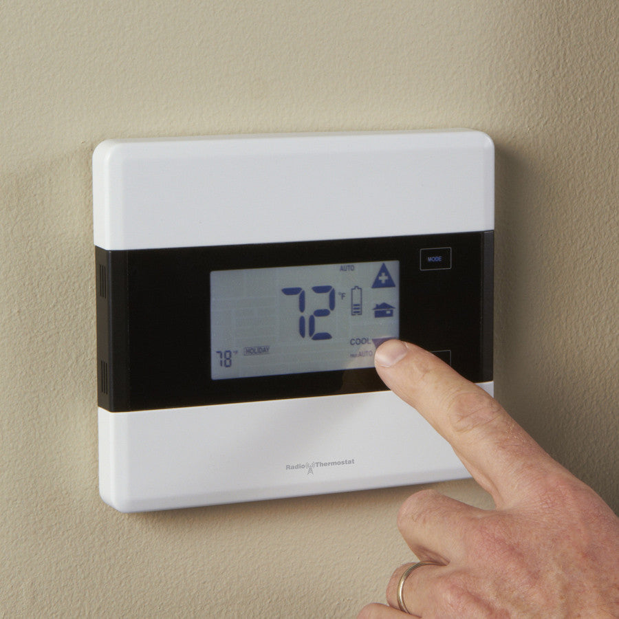 Radio Thermostat Z-Wave Communicating Touch Screen Thermostat CT101, Iris Version View on Wall