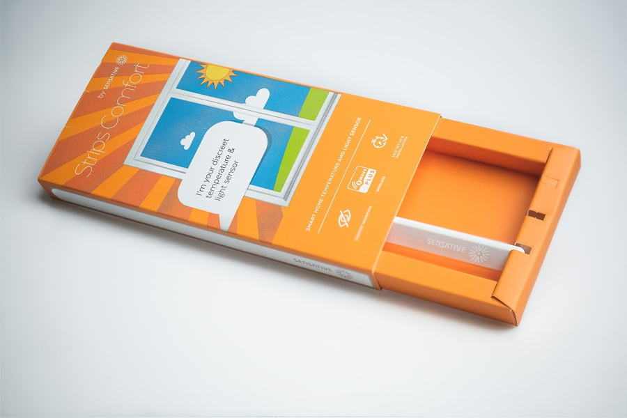 Sensative Z-Wave Plus Strips Comfort Indoor / Outdoor Temperature & Light Sensor Packaging View