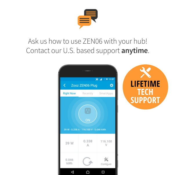 Zooz Z-Wave Plus Smart Plug ZEN06 Lifetime Tech Support