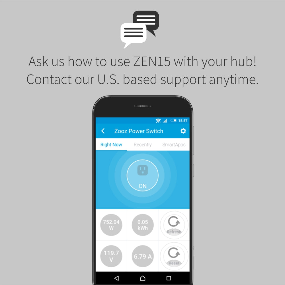 Zooz Z-Wave Plus Power Switch ZEN15 SmartThings Interface