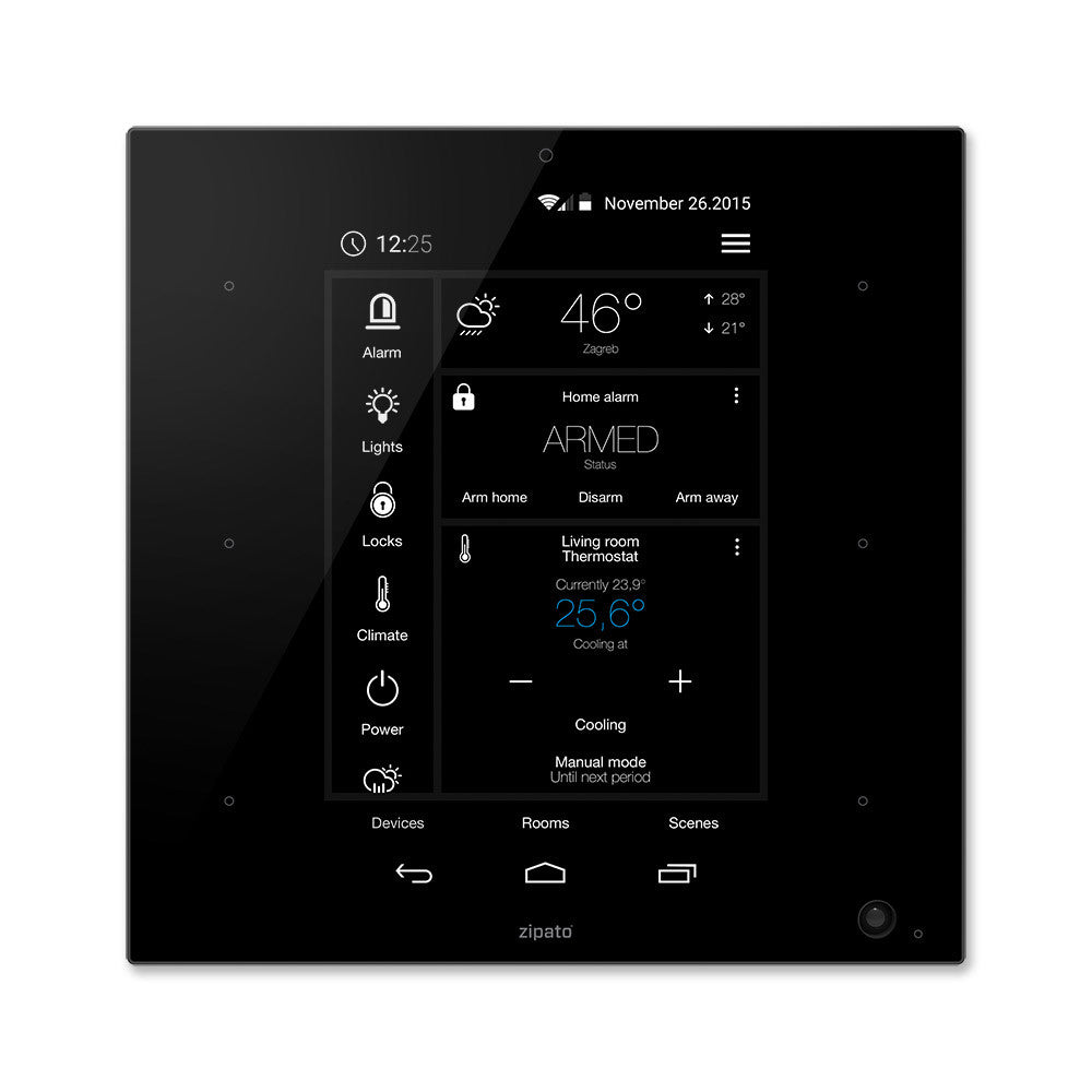 Zipato ZipaTile Z-Wave Plus Home Automation Controller ZT.ZWUS, black, front view
