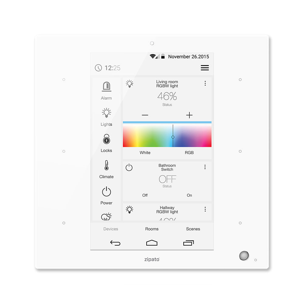 Zipato ZipaTile Z-Wave Plus Home Automation Controller ZT.ZWUS, white, front view