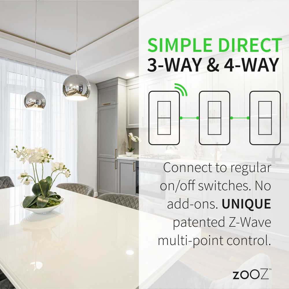 Zooz 700 Series Z-Wave Plus S2 On / Off Toggle Switch ZEN73 Simple Direct 3-Way and 4-Way