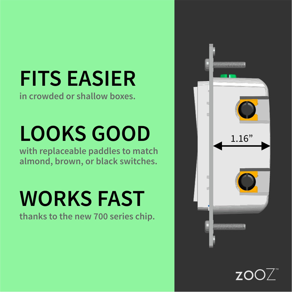 Zooz 700 Series Z-Wave Plus Dimmer ZEN72 Dimensions and Hardware Features