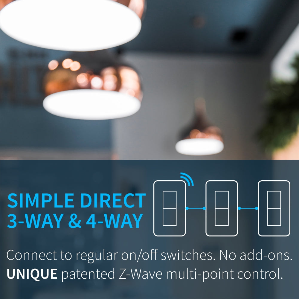 Zooz Z-Wave Plus S2 Dimmer Switch ZEN27 VER. 3.0 (White) with Simple Direct 3-Way & 4-Way unique patented solution