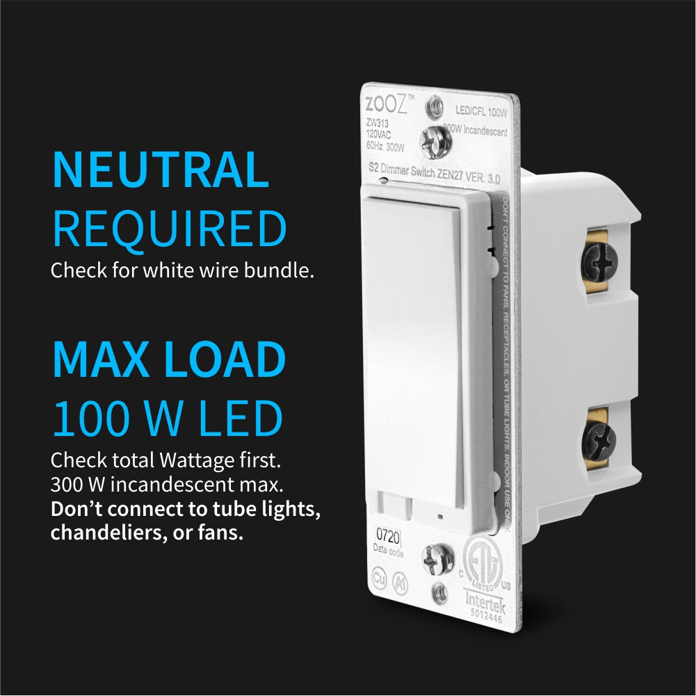Zooz Z-Wave Plus S2 Dimmer Switch ZEN27 VER. 3.0 (White) with Simple Direct 3-Way & 4-Way Electrical Requireements
