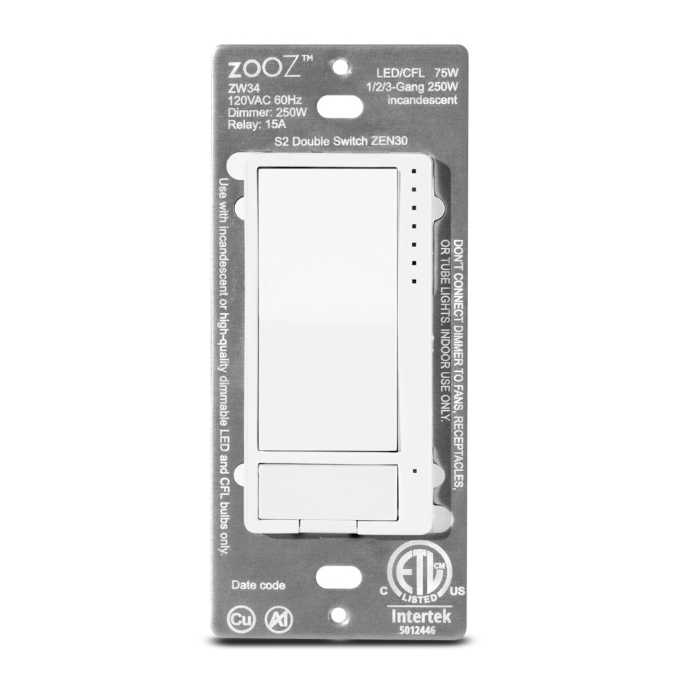 Zooz Z-Wave Plus S2 Double Switch ZEN30 Front View