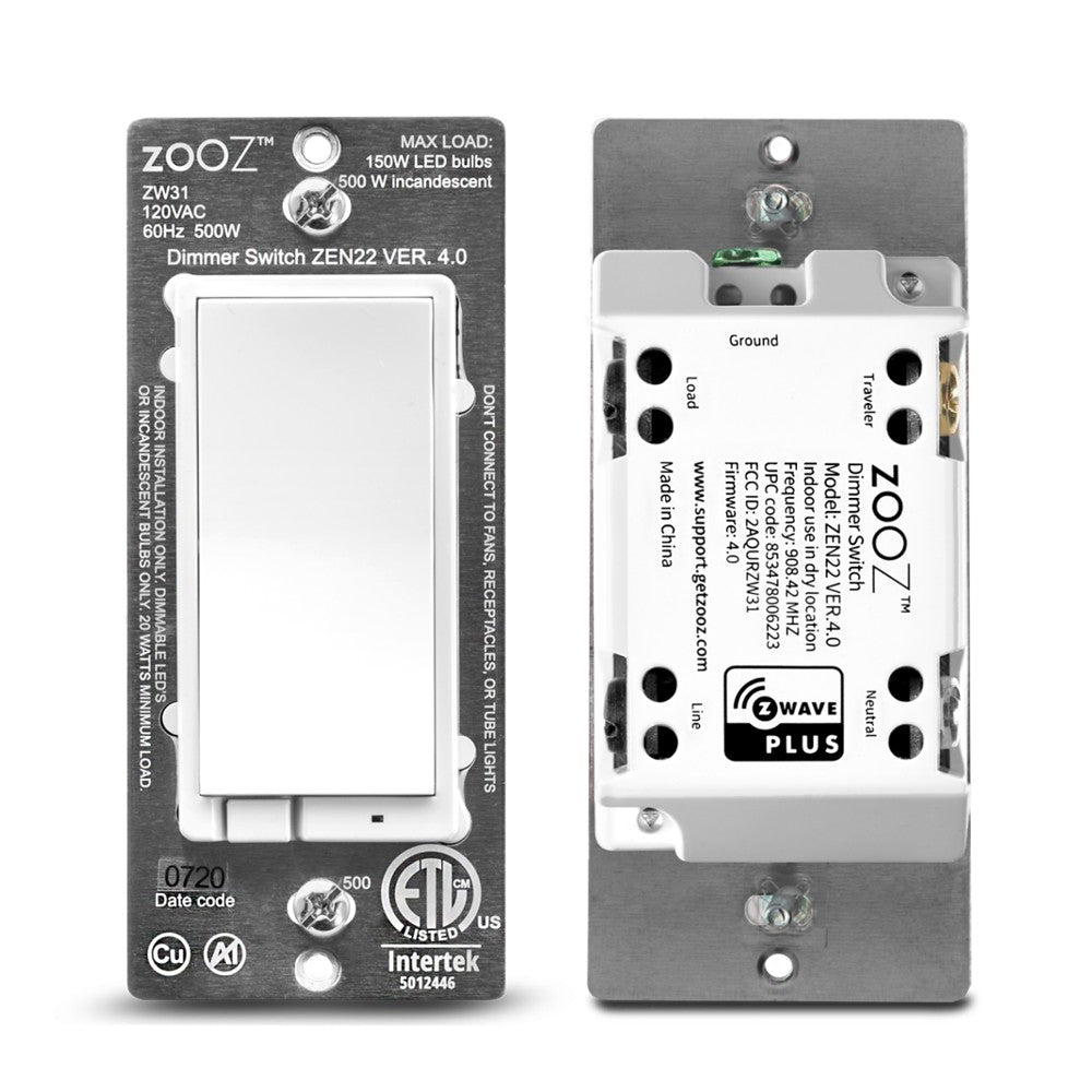 Zooz Z-Wave Plus Dimmer Light Switch ZEN22 VER 4.0 Front and Back View