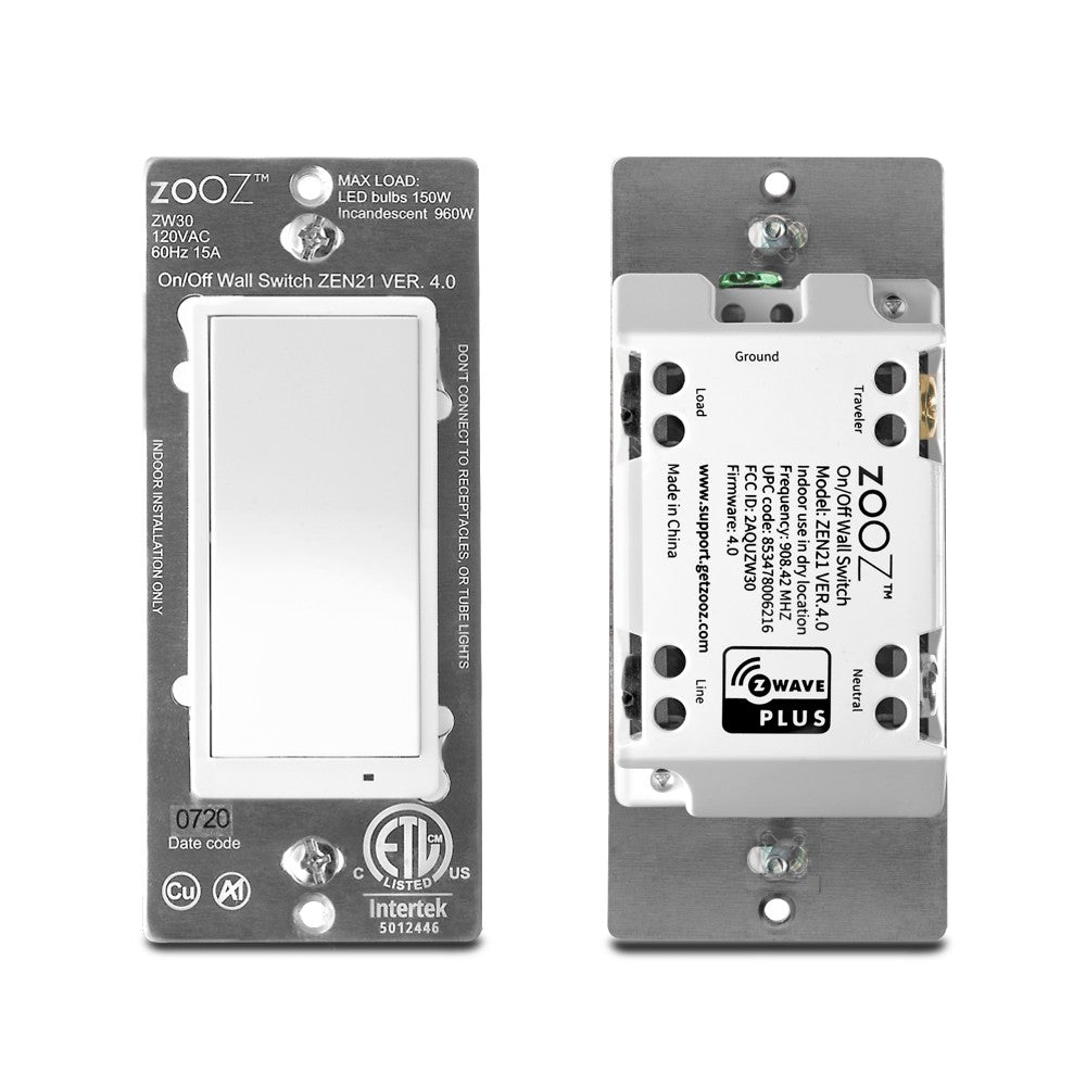 Zooz Z-Wave Plus On / Off Light Switch ZEN21 VER 4.0 Front and Back View of the Switch