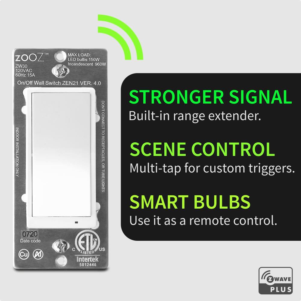 Zooz Z-Wave Plus On / Off Light Switch ZEN21 VER 4.0 Features
