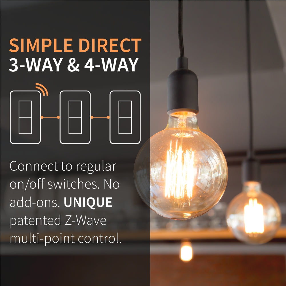 Zooz Z-Wave Plus S2 On / Off Wall Switch ZEN26 with Simple Direct 3-Way & 4-Way Functionality
