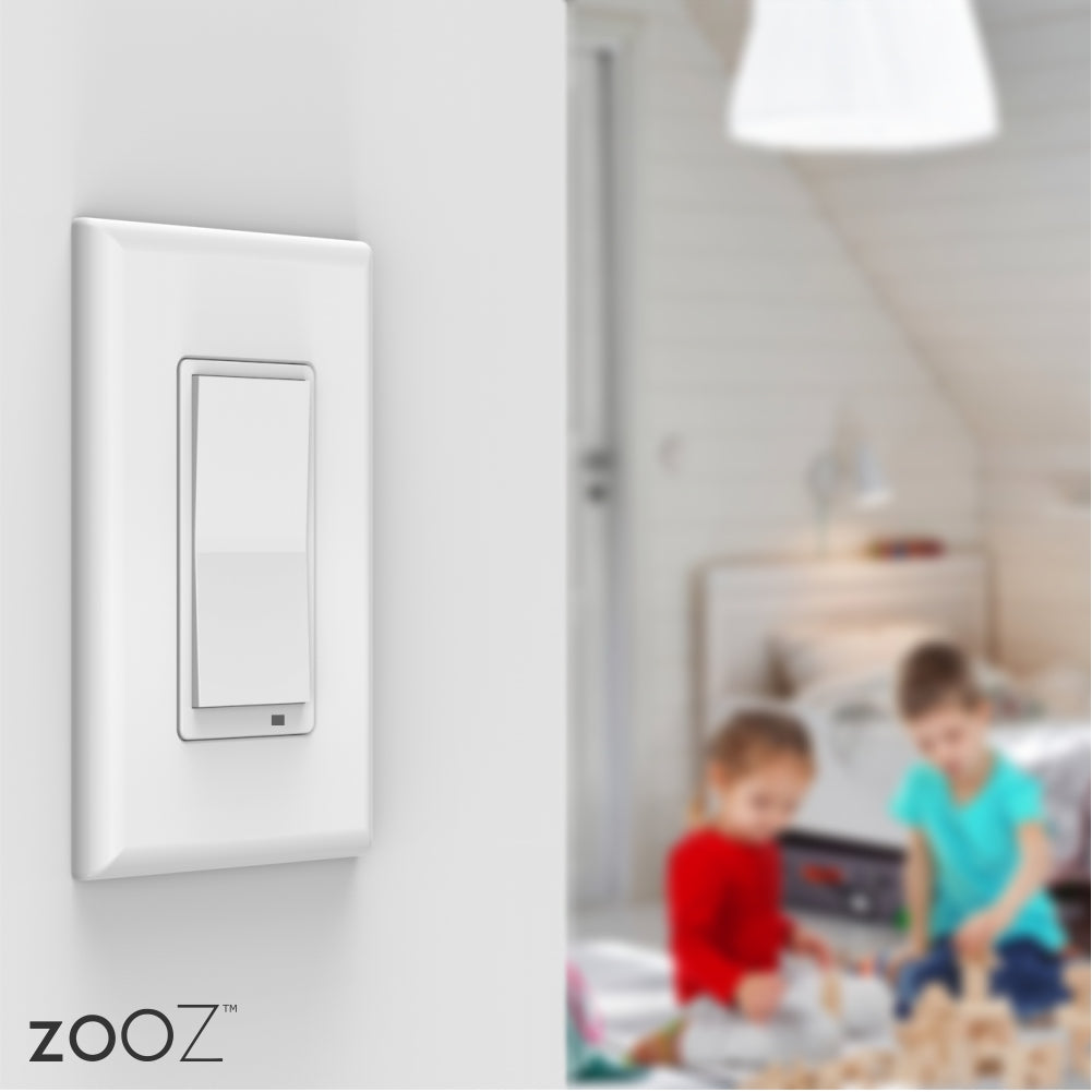 Zooz Z-Wave Plus S2 On / Off Wall Switch ZEN26 with Simple Direct 3-Way & 4-Way Installed on a Wall
