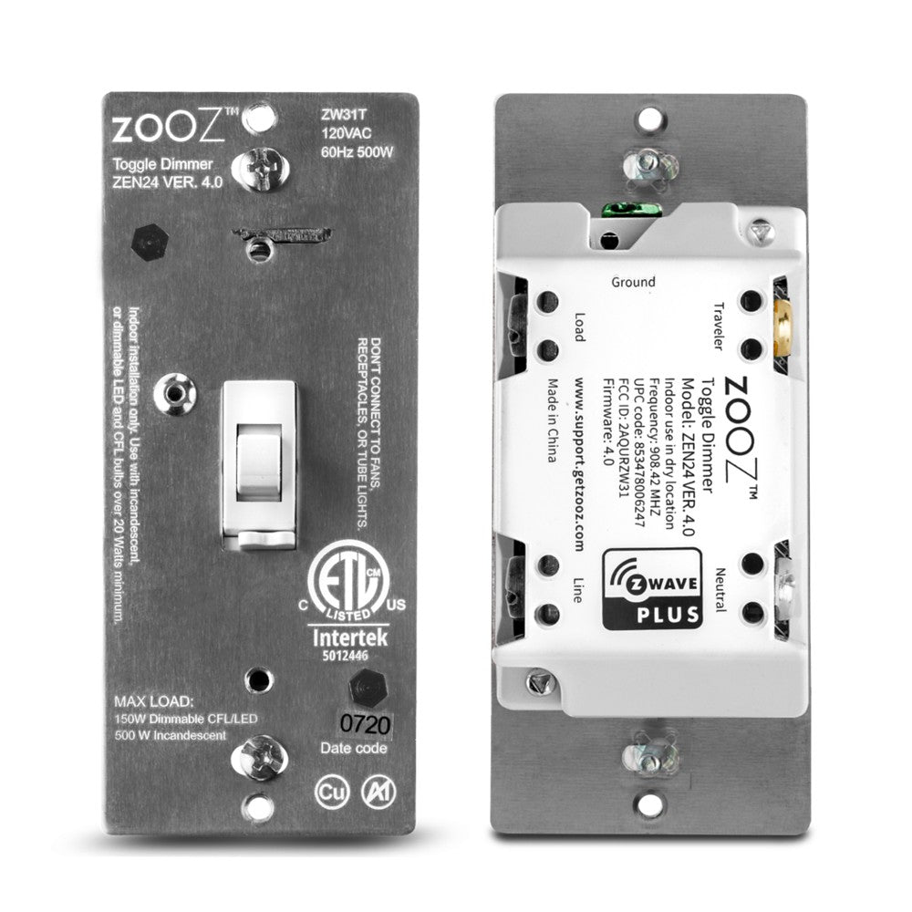 Zooz Z-Wave Plus Dimmer Toggle Switch ZEN24 VER. 4.0 Front and back view