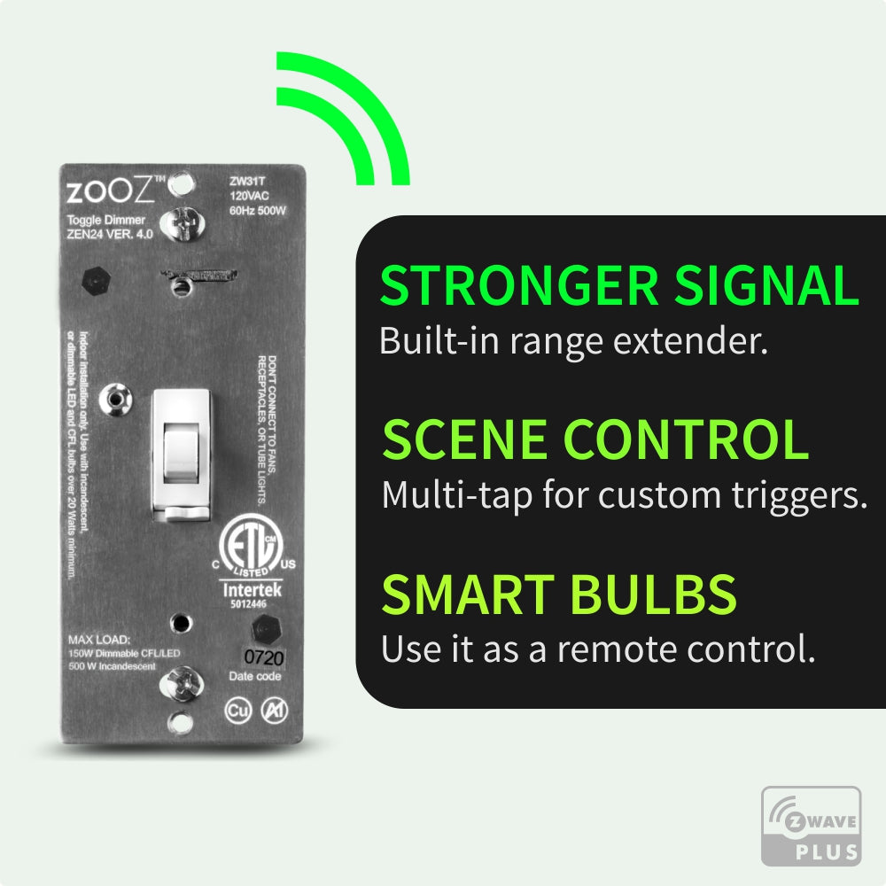 Zooz Z-Wave Plus Dimmer Toggle Switch ZEN24 VER. 4.0 Z-Wave Features