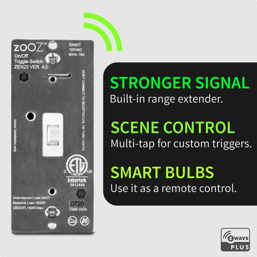 Zooz Z-Wave Plus On / Off Toggle Switch ZEN23 VER 4.0 Z-Wave Features