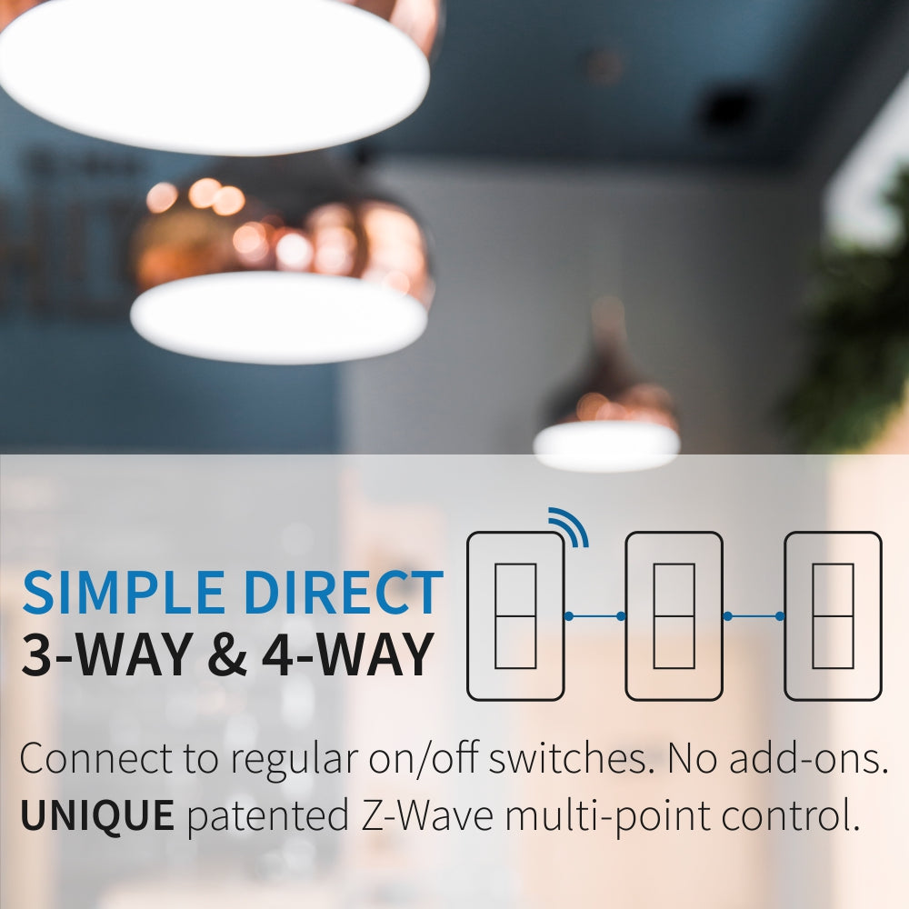 Zooz Z-Wave Plus S2 Dimmer Switch ZEN27 with Simple Direct 3-Way & 4-Way Functionality