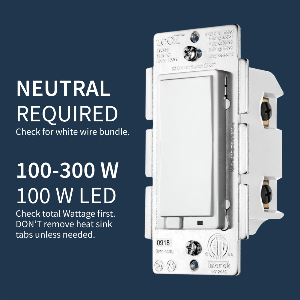 Zooz Z-Wave Plus S2 Dimmer Switch ZEN27 (White) with Simple Direct 3-Way & 4-Way Technical Requirements