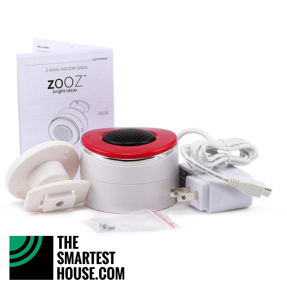 Zooz Z-Wave Plus Indoor Siren ZSE01 with accessories