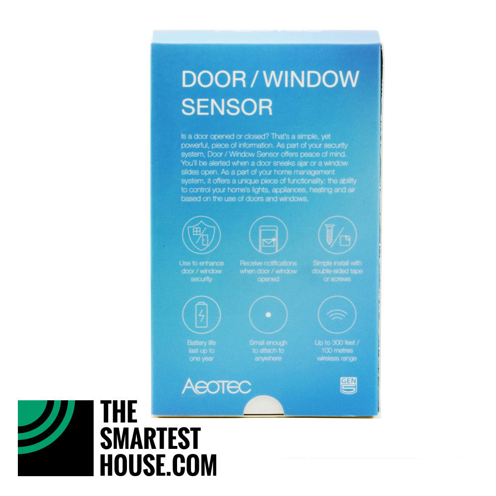 Aeotec by Aeon Labs Z-Wave Plus Door Window Sensor Gen5 ZW120 - 2 Pack packaging back