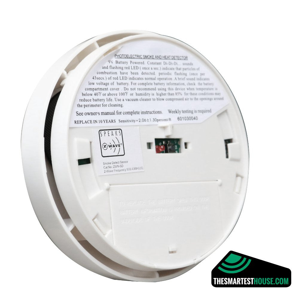 Z-Wave Smoke Detector ZWN-SD-W Back Angle