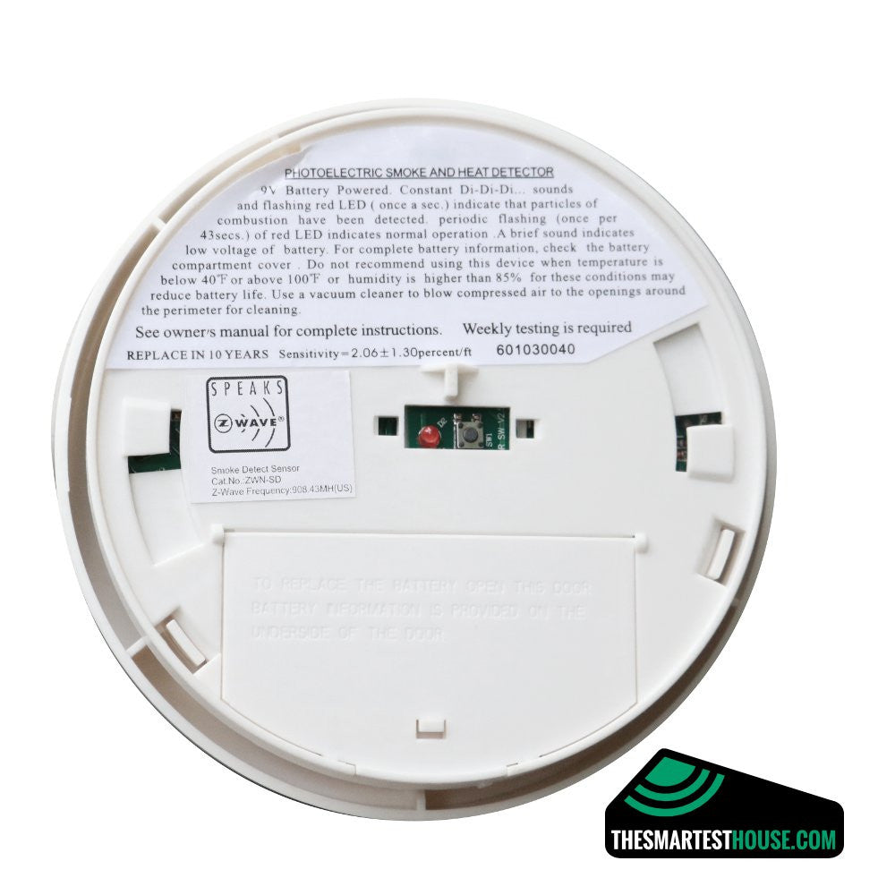 Z-Wave Smoke Detector ZWN-SD-W Back