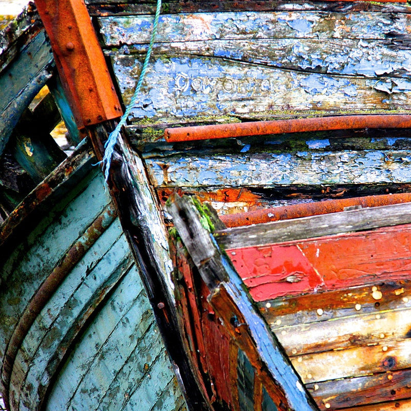 <p>I came across these majestic hulks of fishing boats washed up on a beach on the Isle of Mull, in the Western Isles of Scotland. I was struck by their size and great presence and the impact natural weathering had on the paintwork, revealing layers of colour. I was drawn back to the beach day after day, fascinated by the influence of changing light on the colours.</p>