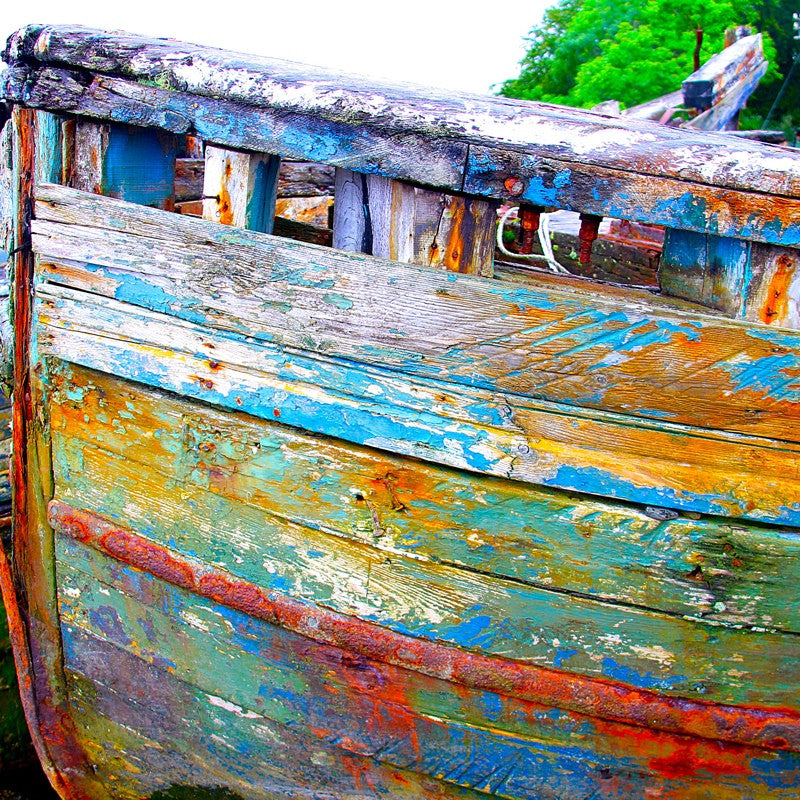 <p>Amidst a few neglected and abandoned fishing boats was a hull so rich in colour, aging patina. As the light moved around the group of boats anchored to the shoreline the density of colour dramatically changed making these boats a fascinating subject. Moored on the shores of the Isle of Mull, Scotland.</p>