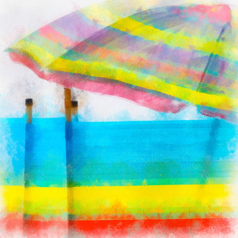 <p>In high summer, colourful and stripey sun umbrellas and windbreaks decorate English beaches.</p>