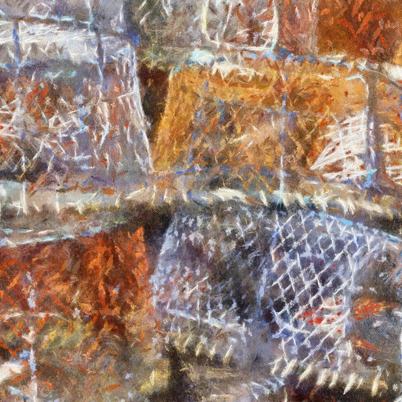 <p>In many fishing villages you'll find stacked lobster pots like these in Mousehole, Cornwall. While fishermen pause between their trips, the texture and colour create a picturesque scene.</p>
