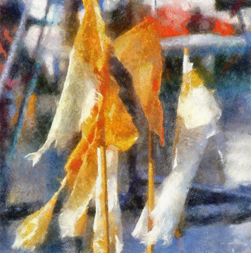 <p>Padstow harbour is a wonderful source for photography with its large hull fishing boats coming to and fro. Here abandoned and tattered flags grace the lobster pot storage yard.</p>