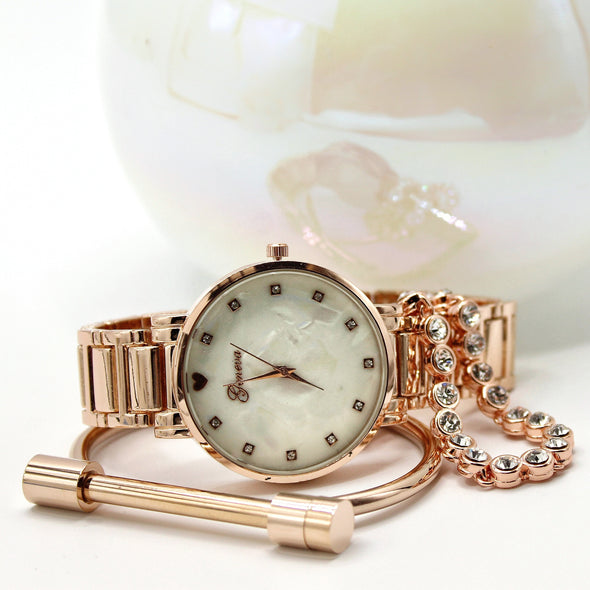 Rose gold watch and bracelet set